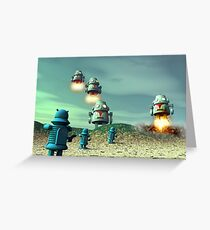 Robot Invasion From Above V2 Greeting Card