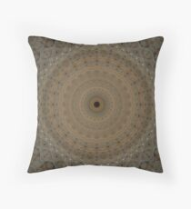 Beige mandala with geometric ornaments Throw Pillow