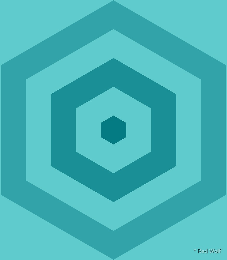 Geometric Pattern: Hexagon Hive: Ocean by * Red Wolf