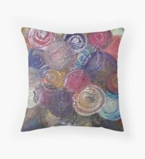 Circle Glitter Bouquet by Adrianna Stepiano Throw Pillow