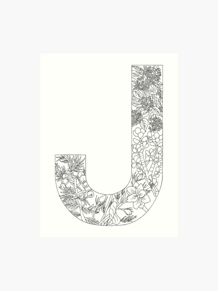 Letter Art Print.Botanical Alphabet Letter J Art Print