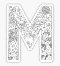 Botanical Alphabet Letter M Sticker
