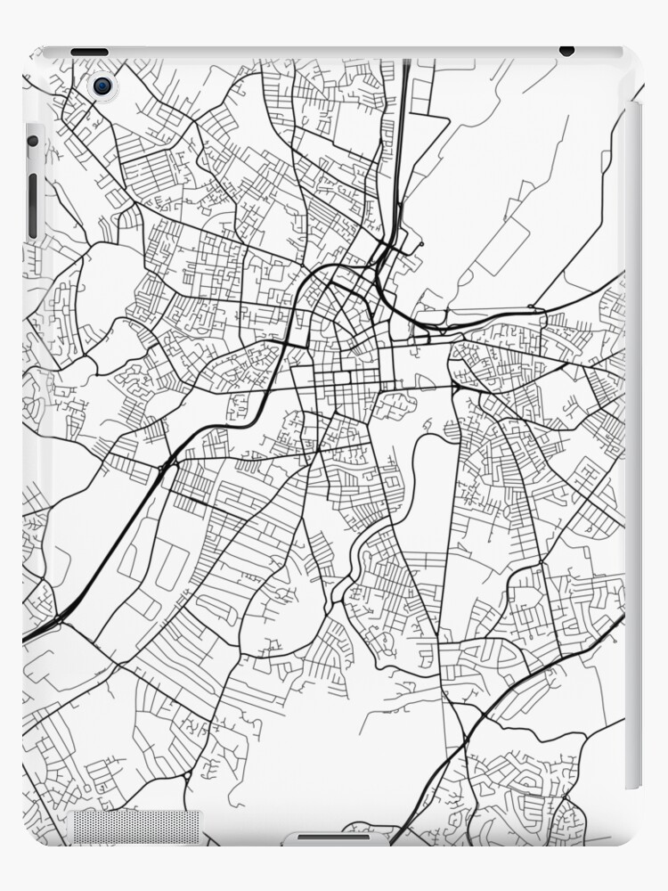 Map Of Ireland Black And White.Belfast Map Northern Ireland Black And White Ipad Cases Skins