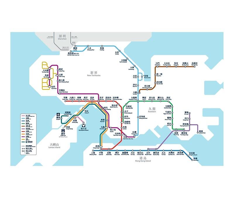 Hong Kong MTR Map 2016 Posters by lordgolani Redbubble