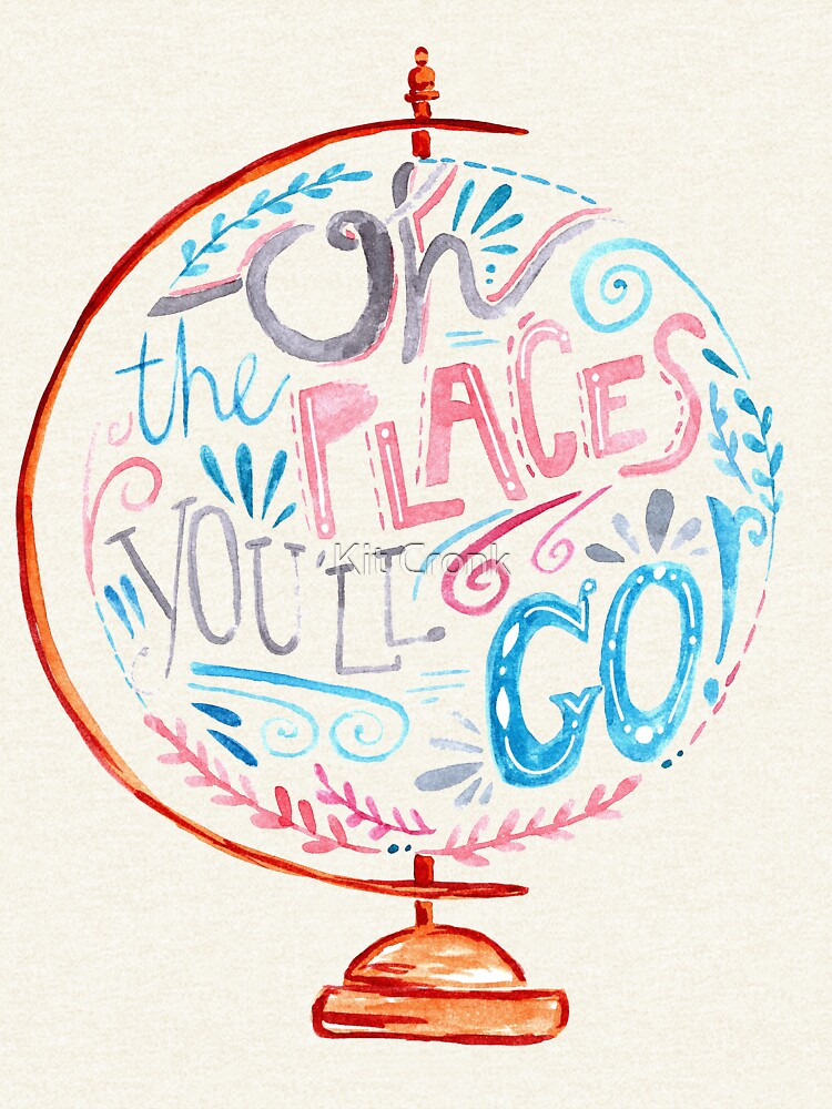 Oh The Places You'll Go - Typography Vintage Globe in Pink Blue Grey by rubyandpearl