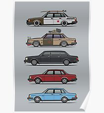 Stack of Volvo 240 Series 244 Sedans Poster