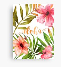 Hawaiian Tropical Floral Aloha Watercolor Metal Print