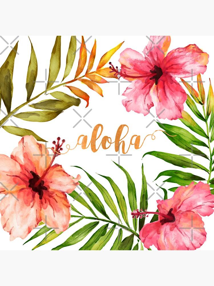 Hawaiian Tropical Floral Aloha Watercolor by AbigailVigh