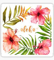 Hawaiian Tropical Floral Aloha Watercolor Sticker