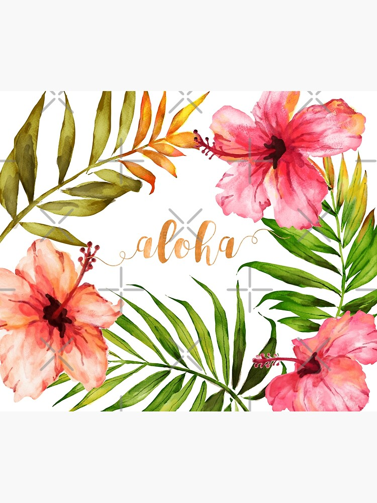 Hawaiian Tropical Floral Aloha Watercolor by AbigailVigh