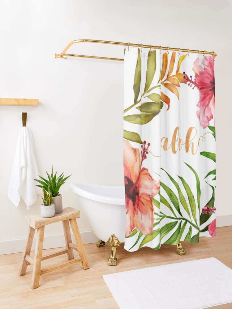 Alternate view of Hawaiian Tropical Floral Aloha Watercolor Shower Curtain