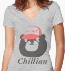 no chill bear Women's Fitted V-Neck T-Shirt