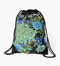 Peacock on Black Drawstring Bag