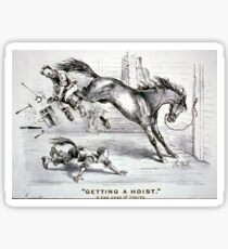 Getting a hoist - a bad case of the heaves - 1875 - Currier & Ives Sticker