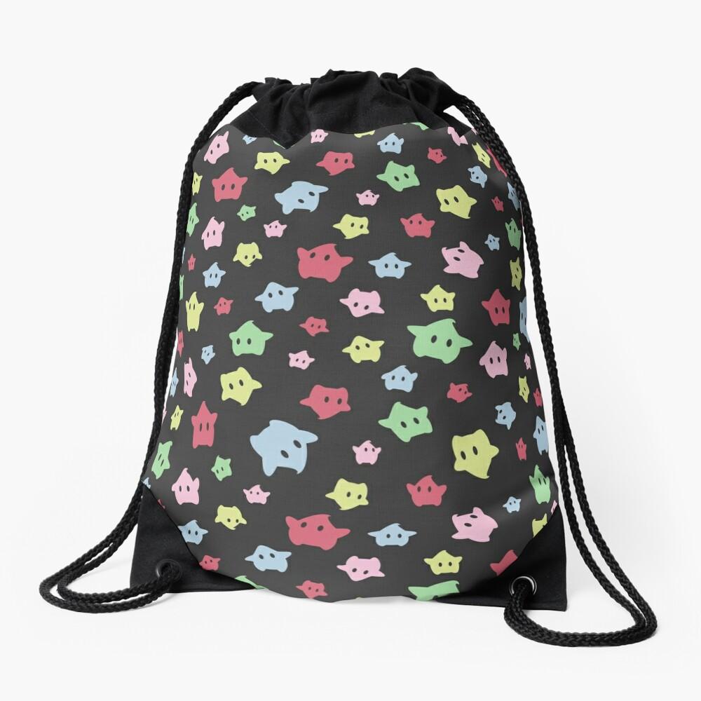 Luma Print Black Drawstring Bag