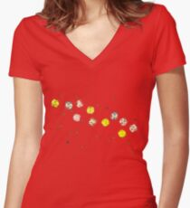 Funny Cool and Colorful Plastic Jewels  Women's Fitted V-Neck T-Shirt