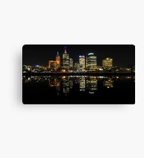 Melbourne City By Night Canvas Print