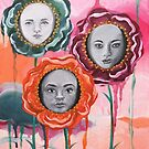 Whimsical Poppies With Faces Colorful Dripping Paint by Allise Noble