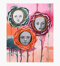 Whimsical Poppies With Faces Colorful Dripping Paint Photographic Print