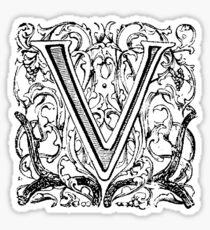 Floral Alphabet Letter V Sticker