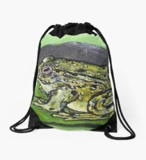 Green frog on water lily Drawstring Bag