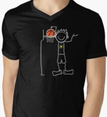 Slam dunk by a very tall basketball player - FOR DARK COLORED BACKGROUND Men's V-Neck T-Shirt