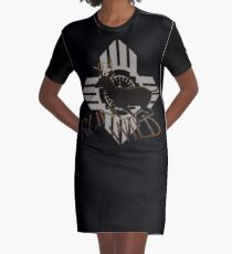 """RUN WILD"" mit Running Buck Hirsch Silhouette & Tribal Sun. T-Shirt Kleid"