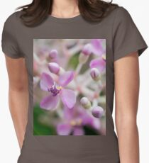 Pink Flower Closeup Floral Print Womens Fitted T-Shirt