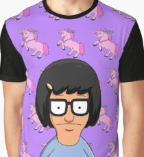 Tina Belcher Unicorn Pattern Purple Graphic T-Shirt