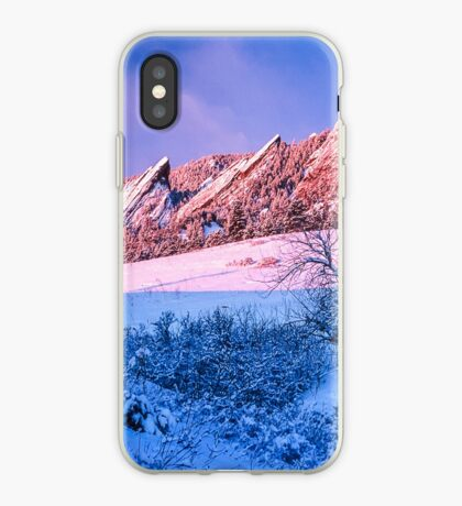 The Flatirons In Winter Blues And Pink iPhone Case