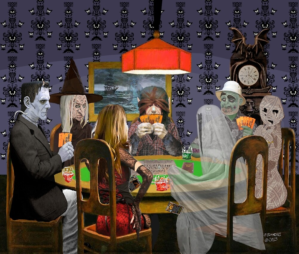 Classic Monsters Not Playing Poker - Playing Halloween Game: Halloweeja by ScavengerEye