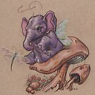 Bitty Elephant with Dragonfly (on mushroom) by justteejay