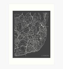 Lisbon Map, Portugal - Gray Art Print