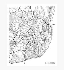 Lisbon Map, Portugal - Black and White Photographic Print