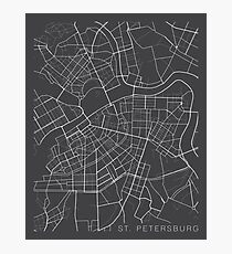 St Petersburg Map, Russia - Gray  Photographic Print