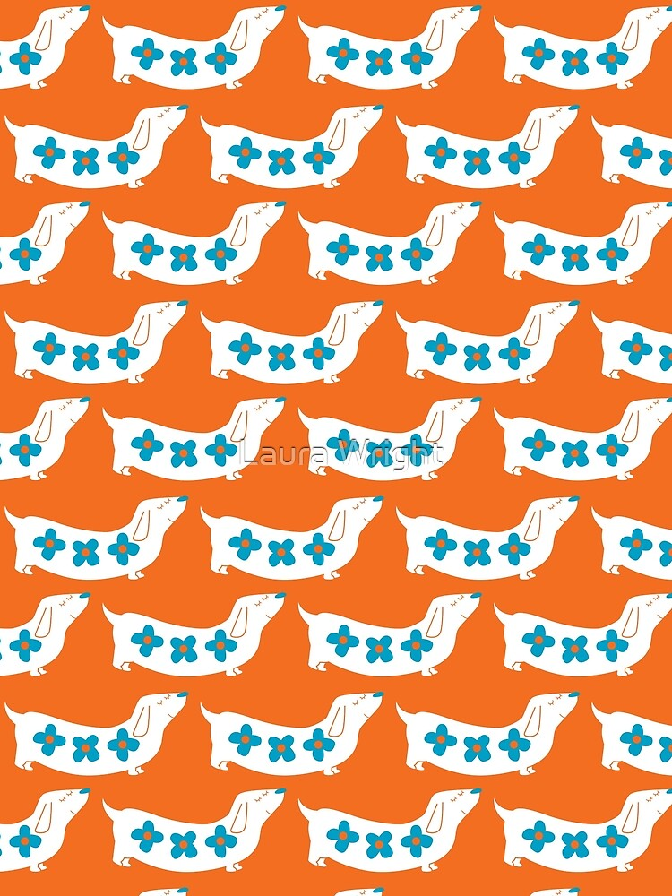 dachshund - orange and blue flowers by laurathedrawer
