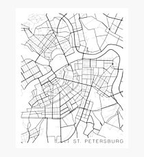 St Petersburg Map, Russia - Black and White Photographic Print