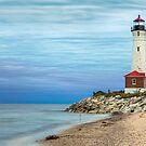 Crisp Point Lighthouse at Sundown by Kenneth Keifer