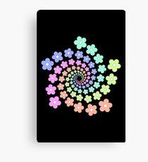 Groovy Flower Spiral - Retro 60s - Vintage 1960s - Rainbow Canvas Print