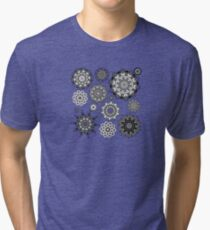 Flower Ornament Black and White 3 Tri-blend T-Shirt