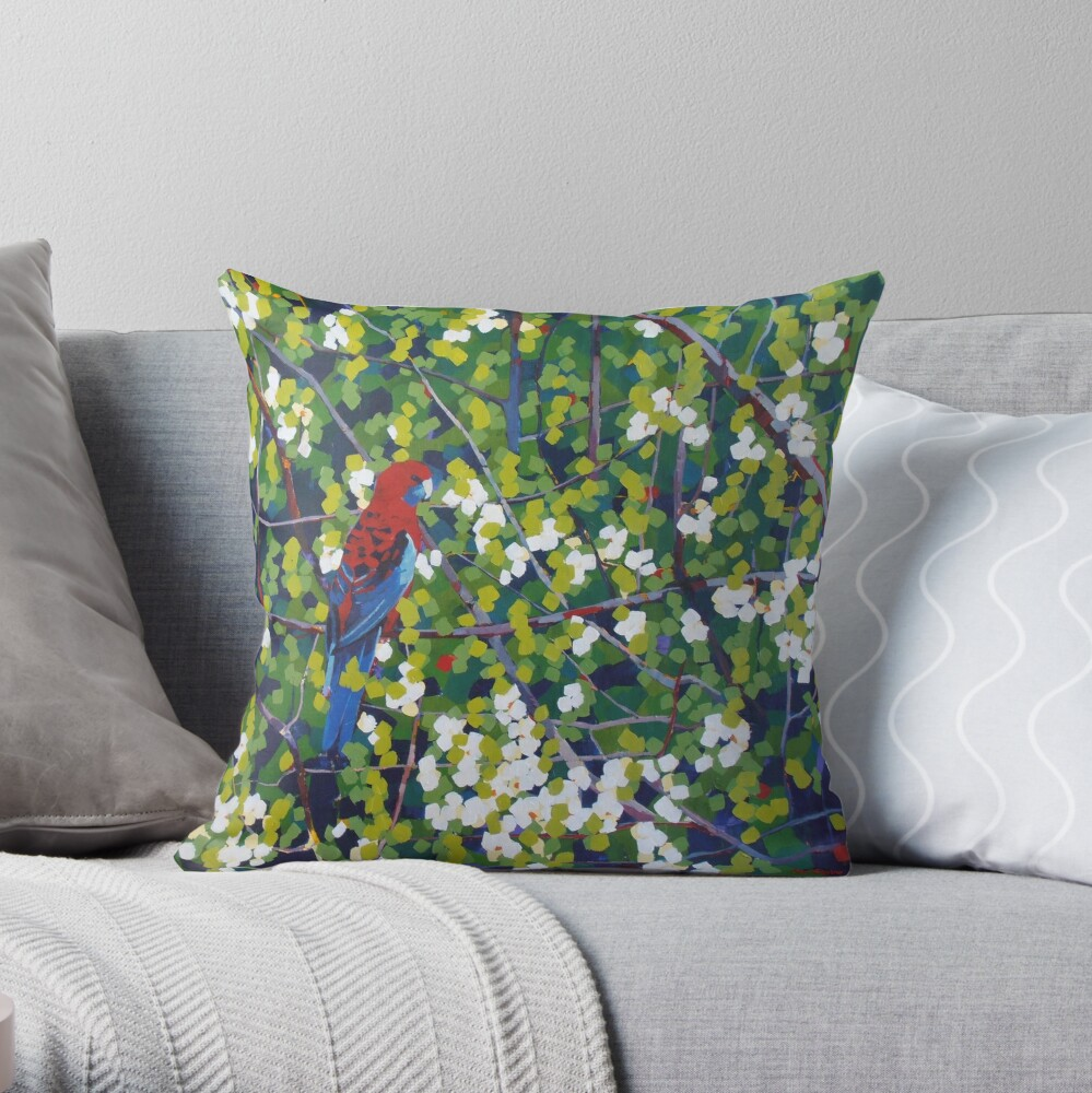 Merry in The Blossoming Throw Pillow