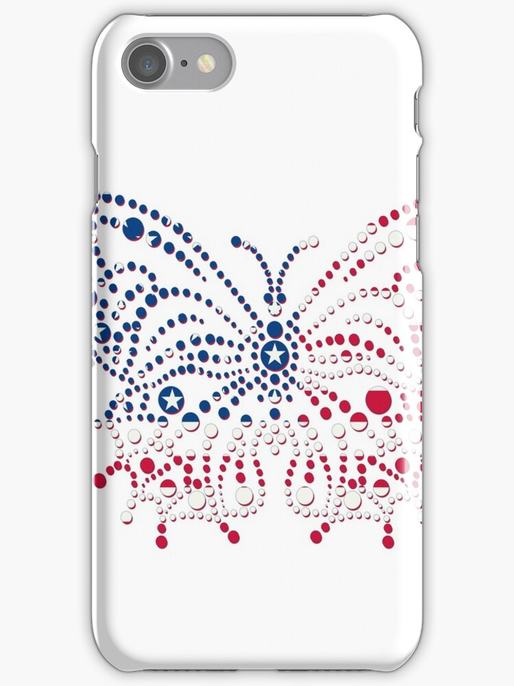 American Patriotic Dots Butterfly Flag iPod / iPhone 4  / iPhone 5  Case / Samsung Galaxy Cases / Pillow / Tote Bag / Duvet / Prints  by CroDesign