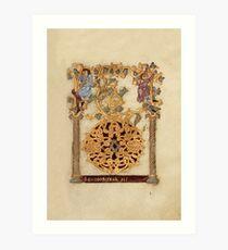 Decorated Initial D - D[eu]s qui Hodierna Die (1000 - 1025 AD) Art Print