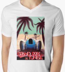 """GRAND PRIX of TUNISIA"" Vintage Auto Racing Print Men's V-Neck T-Shirt"