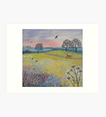 Across Evening Meadow Art Print