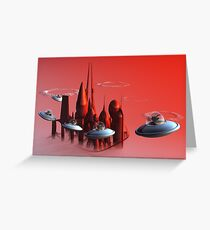 Little Green Invaders Greeting Card