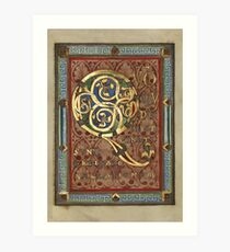 Decorated Incipit Page - Opening of Luke's Gospel (1120 - 1140 AD) Art Print