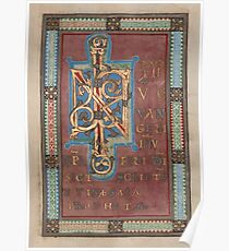 Decorated Incipit Page - Beginning of Mark's Gospel (1120 - 1140 AD) Poster