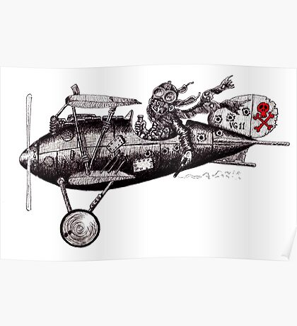 Funny crazy pilot on vintage plane. Black and white pen ink drawing Poster