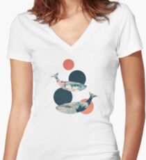 Whale and Polka Dots Women's Fitted V-Neck T-Shirt